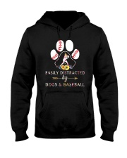 Easily Distracted By Dogs And Baseball Hooded Sweatshirt thumbnail
