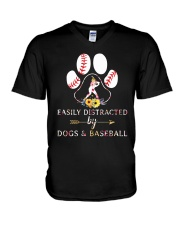 Easily Distracted By Dogs And Baseball V-Neck T-Shirt thumbnail