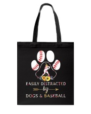 Easily Distracted By Dogs And Baseball Tote Bag thumbnail