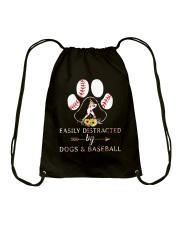 Easily Distracted By Dogs And Baseball Drawstring Bag thumbnail