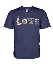 Basketball Love Flower V-Neck T-Shirt thumbnail