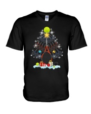 Tennis Christmas Tree V-Neck T-Shirt thumbnail