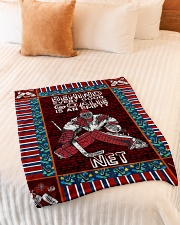 "Hockey Behind Every Good Goalie Graphic Design Small Fleece Blanket - 30"" x 40"" aos-coral-fleece-blanket-30x40-lifestyle-front-01"