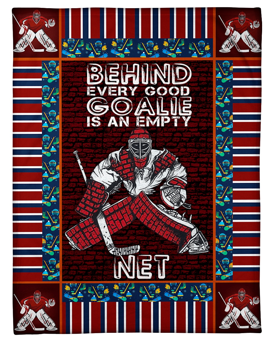 "Hockey Behind Every Good Goalie Graphic Design Small Fleece Blanket - 30"" x 40"""