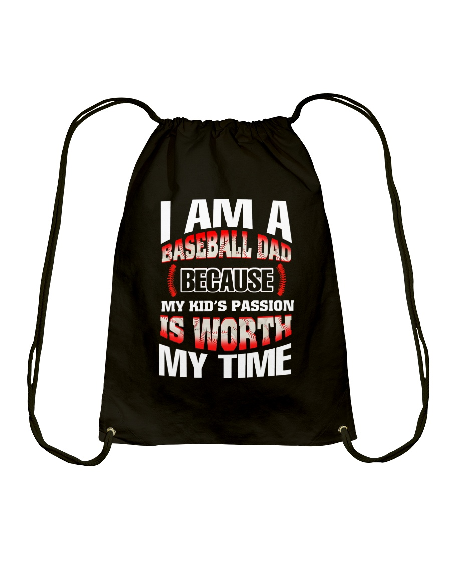 I AM A BASEBALL DAD Drawstring Bag
