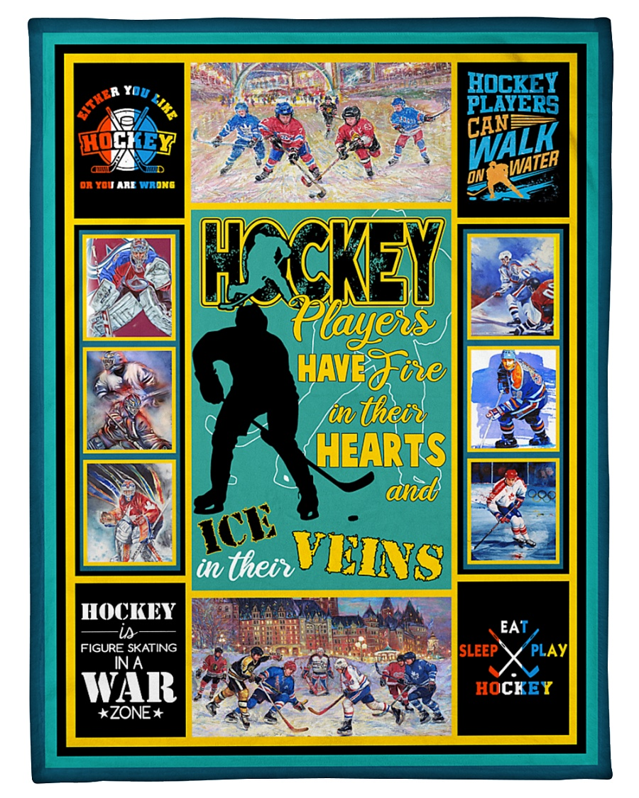 "Hockey Players Have Fire In Hearts Graphic Design Small Fleece Blanket - 30"" x 40"""