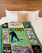 """Hockey Players Have Fire In Hearts Graphic Design Large Fleece Blanket - 60"""" x 80"""" aos-coral-fleece-blanket-60x80-lifestyle-front-02"""