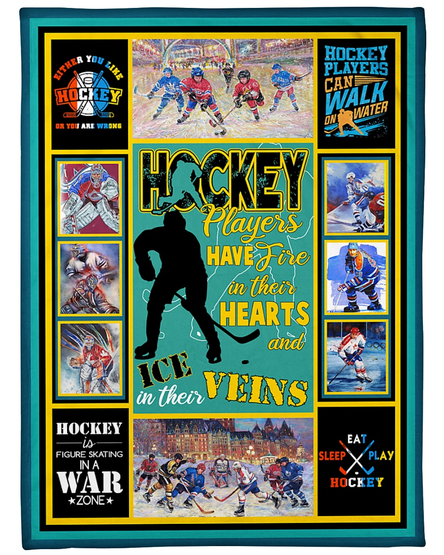 """Hockey Players Have Fire In Hearts Graphic Design Large Fleece Blanket - 60"""" x 80"""""""