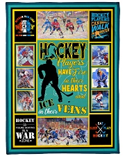 """Hockey Players Have Fire In Hearts Graphic Design Large Fleece Blanket - 60"""" x 80"""" front"""