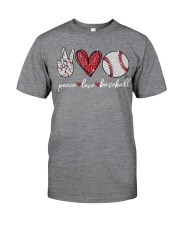 Baseball Peace Love Classic T-Shirt front