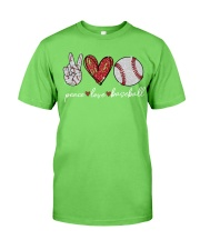 Baseball Peace Love Classic T-Shirt front
