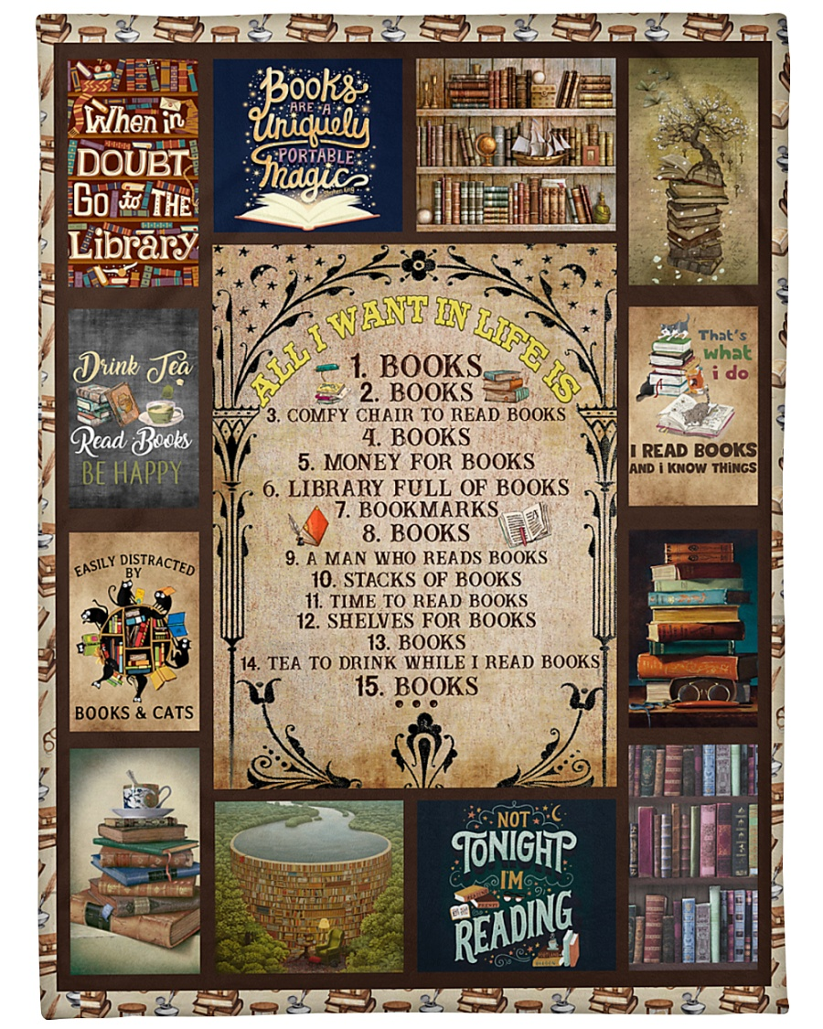 "Books All I Want In Life Is Large Fleece Blanket - 60"" x 80"""