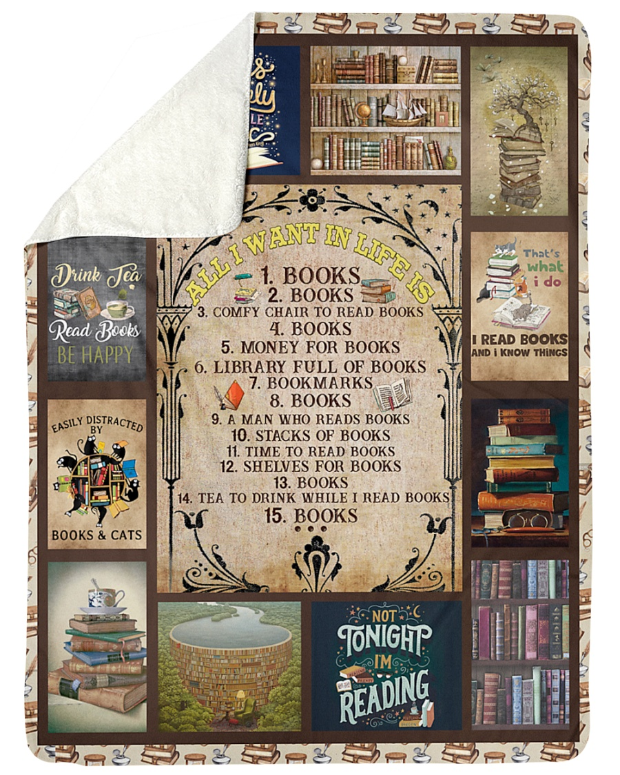 """Books All I Want In Life Is Large Sherpa Fleece Blanket - 60"""" x 80"""""""