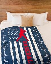 "Baseball Blue Flag Large Fleece Blanket - 60"" x 80"" aos-coral-fleece-blanket-60x80-lifestyle-front-02"