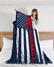 "Baseball Blue Flag Large Fleece Blanket - 60"" x 80"" aos-coral-fleece-blanket-60x80-lifestyle-front-11"