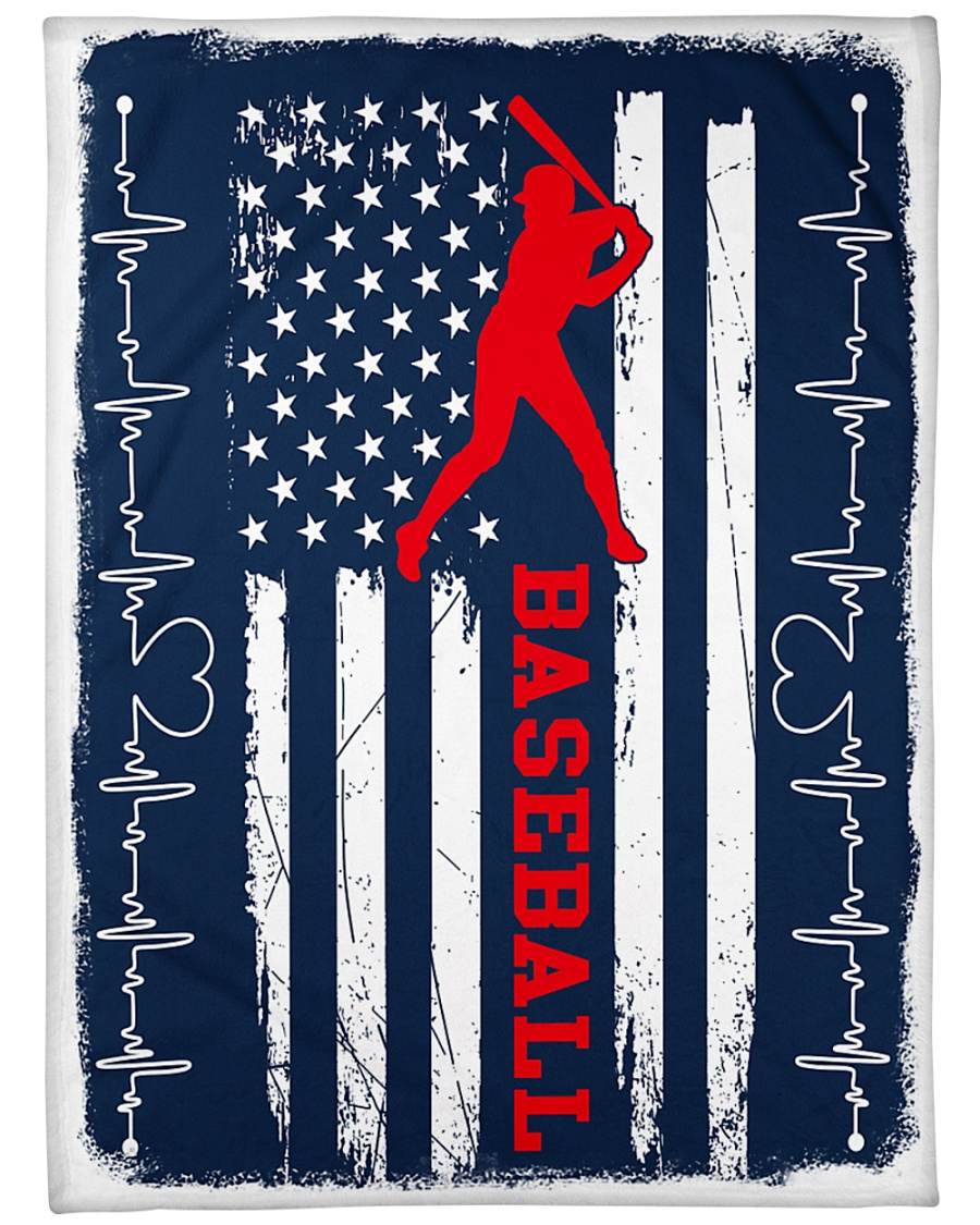"""Baseball Blue Flag Large Fleece Blanket - 60"""" x 80"""""""