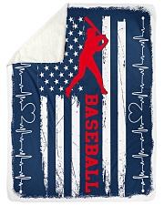 """Baseball Blue Flag Large Sherpa Fleece Blanket - 60"""" x 80"""" thumbnail"""