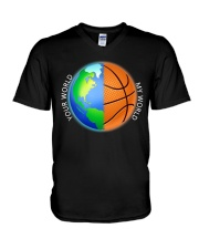 Basketball Your World My World  V-Neck T-Shirt thumbnail
