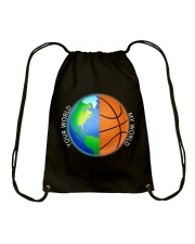 Basketball Your World My World  Drawstring Bag thumbnail