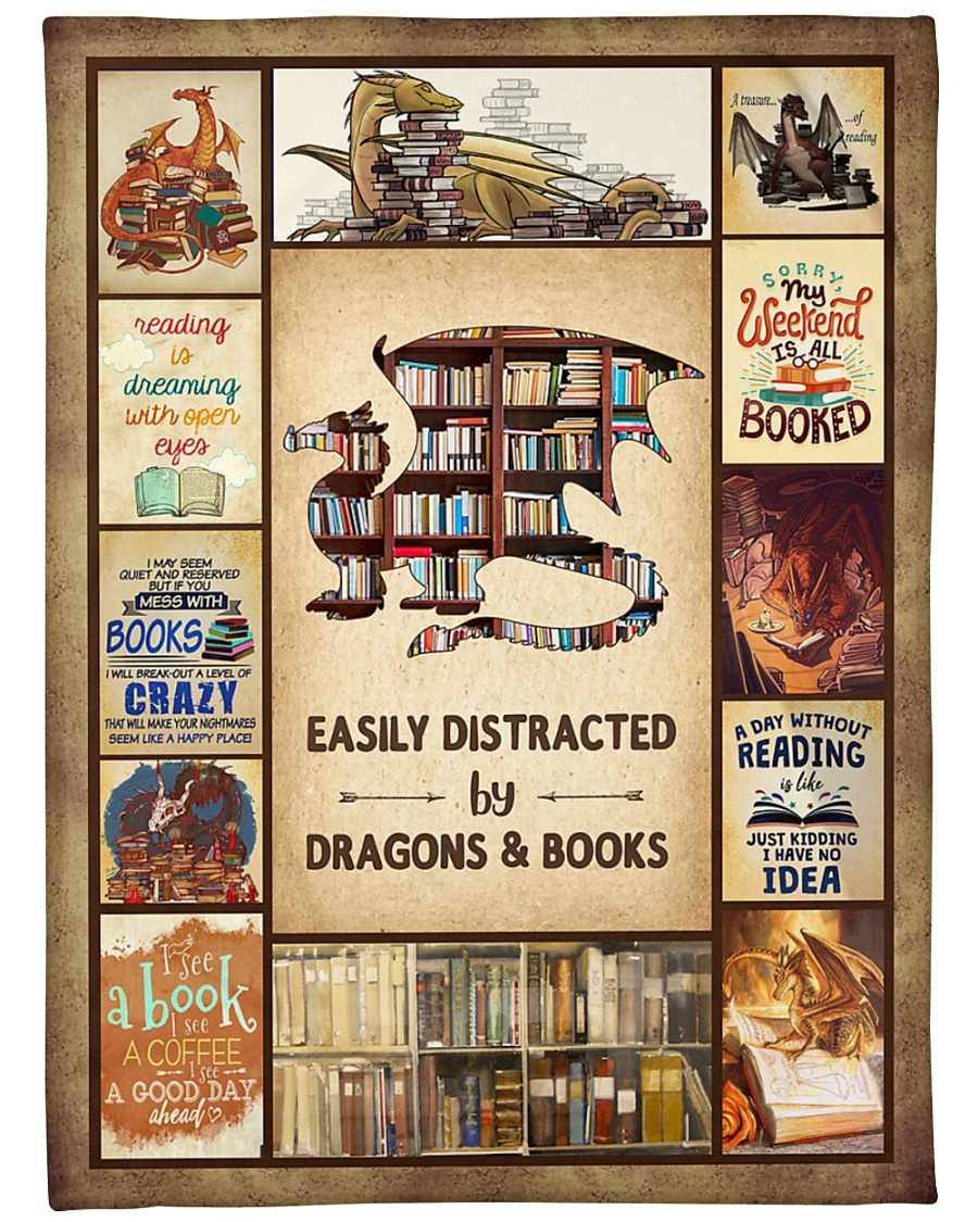 """Books Funny Blanket And Dragons Graphic Design Large Fleece Blanket - 60"""" x 80"""""""