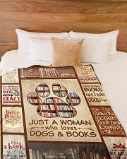 """Book Just A Woman Who Loves Dogs Graphic Design Large Fleece Blanket - 60"""" x 80"""" aos-coral-fleece-blanket-60x80-lifestyle-front-02"""