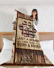 """Book Just A Woman Who Loves Dogs Graphic Design Large Fleece Blanket - 60"""" x 80"""" aos-coral-fleece-blanket-60x80-lifestyle-front-11"""