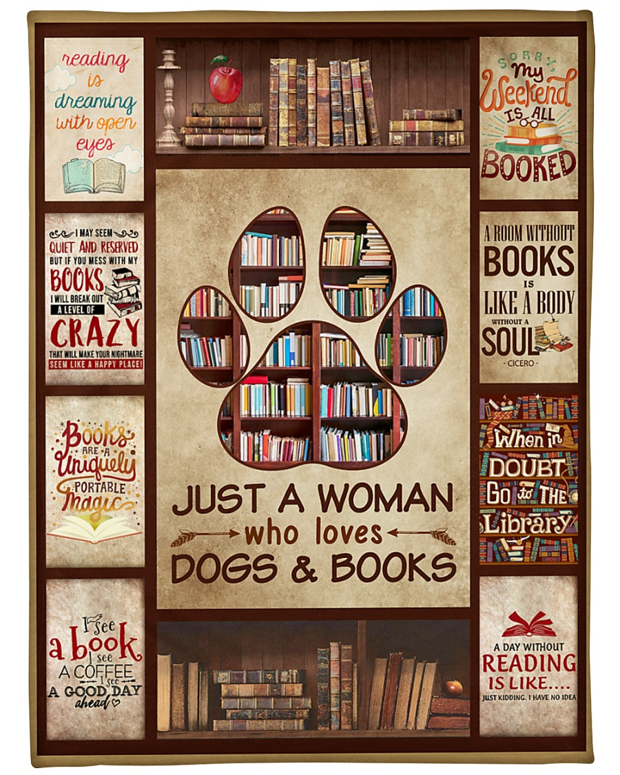 """Book Just A Woman Who Loves Dogs Graphic Design Large Fleece Blanket - 60"""" x 80"""""""