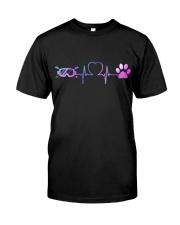Skiing Dog Heartbeat Classic T-Shirt thumbnail