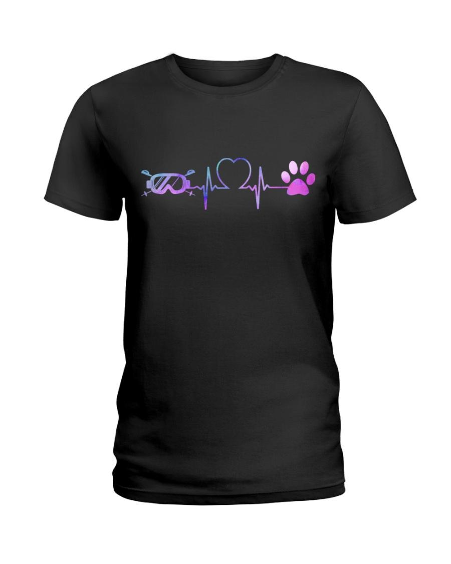 Skiing Dog Heartbeat Ladies T-Shirt
