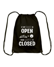 IF MY BOOK IS OPEN YOUR MOUTH IS CLOSED Drawstring Bag thumbnail