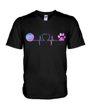Tennis Dog Heartbeat V-Neck T-Shirt thumbnail