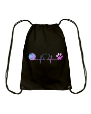 Tennis Dog Heartbeat Drawstring Bag thumbnail
