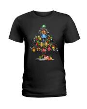 Hockey Christmas Flamingo Ladies T-Shirt thumbnail