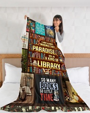 "Books I Have Always Imagined Large Fleece Blanket - 60"" x 80"" aos-coral-fleece-blanket-60x80-lifestyle-front-11"