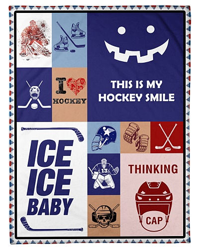 Hockey Funny Blanket Hockey Smile Graphic Design