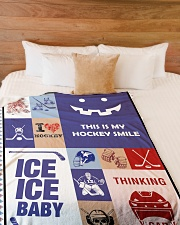 "Hockey Funny Blanket Hockey Smile Graphic Design Large Fleece Blanket - 60"" x 80"" aos-coral-fleece-blanket-60x80-lifestyle-front-02"