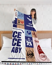 "Hockey Funny Blanket Hockey Smile Graphic Design Large Fleece Blanket - 60"" x 80"" aos-coral-fleece-blanket-60x80-lifestyle-front-11"