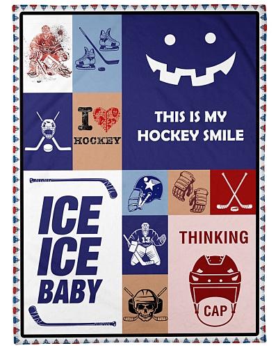 Hockey Funny Blanket Hockey Smile Graphic Design