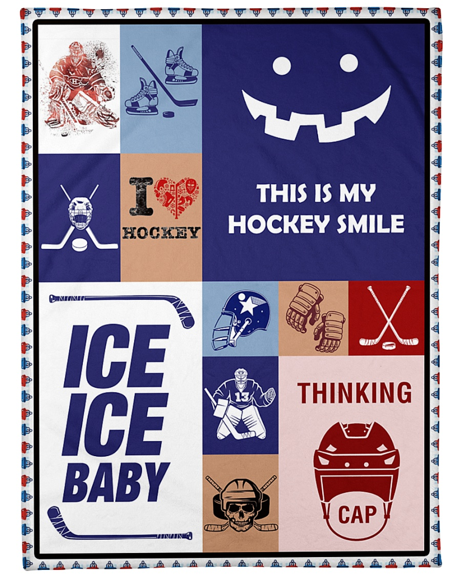 "Hockey Funny Blanket Hockey Smile Graphic Design Large Fleece Blanket - 60"" x 80"""