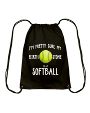 I'm pretty sure my birth stone is a softball Drawstring Bag thumbnail