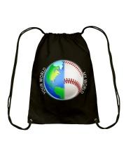 Baseball Your World My World Drawstring Bag thumbnail