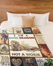 "Book I Am A Book Dragon Graphic Design Large Fleece Blanket - 60"" x 80"" aos-coral-fleece-blanket-60x80-lifestyle-front-02"