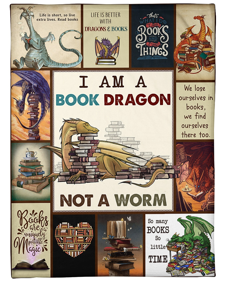 "Book I Am A Book Dragon Graphic Design Large Fleece Blanket - 60"" x 80"""
