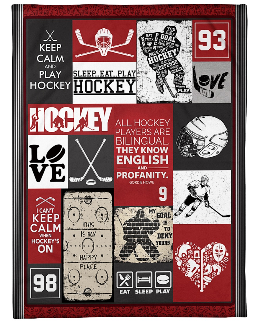 """Hockey Funny Keep Calm And Play Graphic Design Large Fleece Blanket - 60"""" x 80"""""""