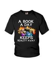 A book A day keeps reality away Youth T-Shirt thumbnail