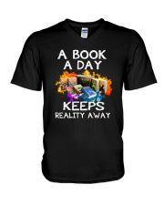 A book A day keeps reality away V-Neck T-Shirt thumbnail