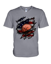 Basketball USA Flag V-Neck T-Shirt thumbnail
