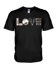 Tennis Love Flower V-Neck T-Shirt thumbnail