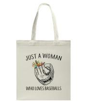 A Woman Loves Baseballs Tote Bag thumbnail