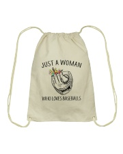A Woman Loves Baseballs Drawstring Bag thumbnail